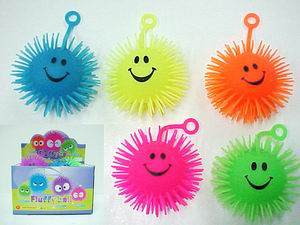 Light Up Flashing Smiley Face Puffer Ball - 2 dz display box