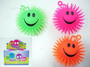 Light Up Flashing Smiley Face Puffer Ball - 5 inch , 1 dz display box
