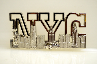NYC Skyline Magnet - Chrome Color