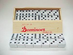 DOUBLE SIX DOMINOES, 1SET/WOODEN BOX