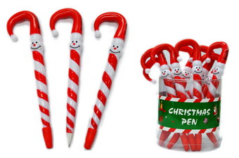 SNOWMAN CANDY CANE PEN, 2 DZ DISPLAY CAN