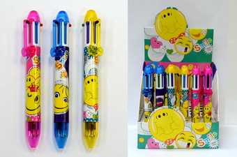 6 COLOR SMILEY FACE BALL POINT PEN, 3 DZ/DISPLAY BOX