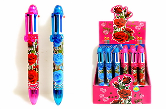 ROSE DECAL 6 COLOR PEN, 3 DZ DISPLAY BOX