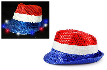 SEQUINED LIGHT UP RED, WHITE & BLUE FEDORA HAT