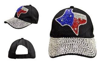 Black Baseball Cap - Texas State Map