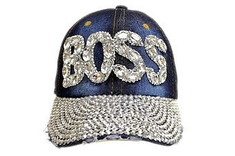 BLING BLING BOSS JEWEL RHINESTONE DENIM BASEBALL CAP