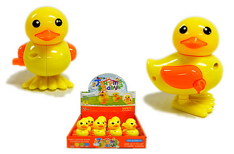 WIND UP YELLOW TOY DUCK, 1DZ/DISPLAY BOX
