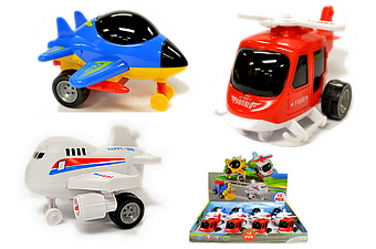 ASSORTED FRICTION TOY AIRPLANE, 1 DZ DISPLAY BOX