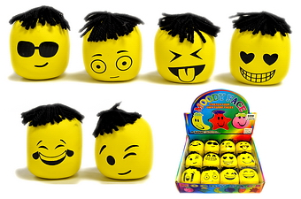 YELLOW EMOJI MOODY SQUEEZE BALL, 12 PC DISPLAY BOX