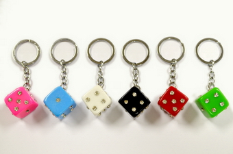 RHINESTONE DICE KEY CHAIN