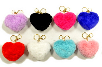 Heart Shape Fur Ball Key Ring - 3.75 inch
