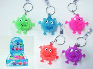 FLASHING HAPPY FACE CRITTER KEY CHAIN, 1 DZ DISPLAY BOX