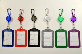 Assorted Color Vertical ID Holder Pull String