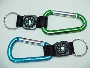 CARABINER KEY CHAIN W/ COMPASS