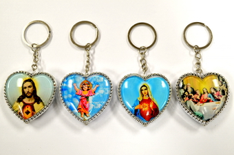 HEART SHAPE RELIGIOUS PLASTIC KEY CHAIN