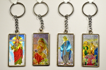 ASSORTED RELIGIOUS LASER PICTURE METAL KEY CHAIN