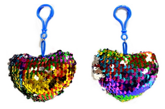 Rainbow Sequined Heart Shape Key Chain