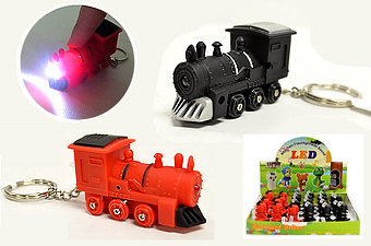 Light Up Locomotive Key Chain with sound - 2 dz display box