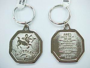 ASSORTED METAL ZODIAC KEY CHAIN