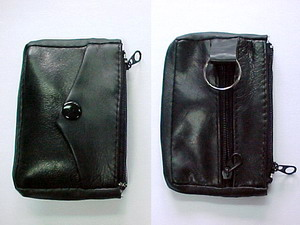 BLACK LEATHER KC/COIN PURSE
