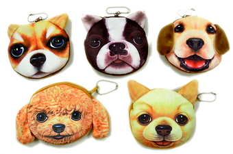 DOG FACE VELVETEEN COIN PURSE