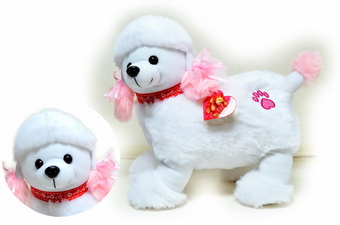 12 inch Poodle With Pink Tail & Ears Red Collar