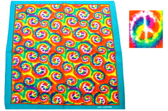 RAINBOW TYE DYE PEACE SIGN BANDANNA