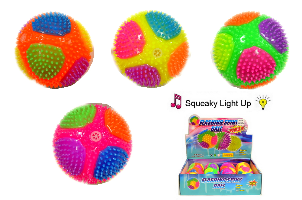 LIGHT UP SQUEAKY SPACE BALL, 1 DZ DISPLAY BOX
