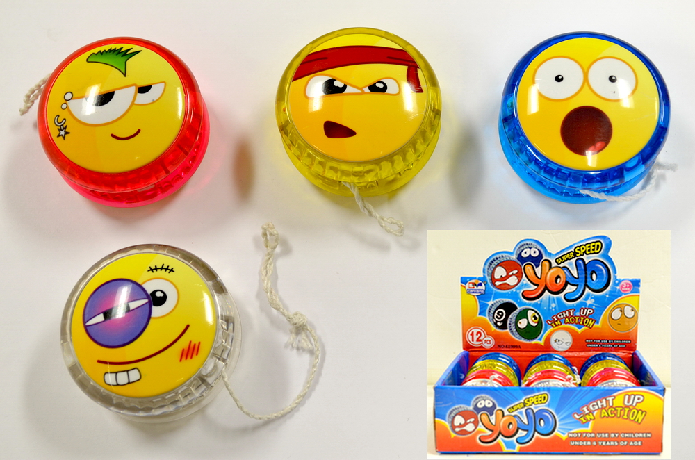 ASSORTED FUNNY FACES LIGHT UP YOYO, 1 DZ DISPLAY BOX