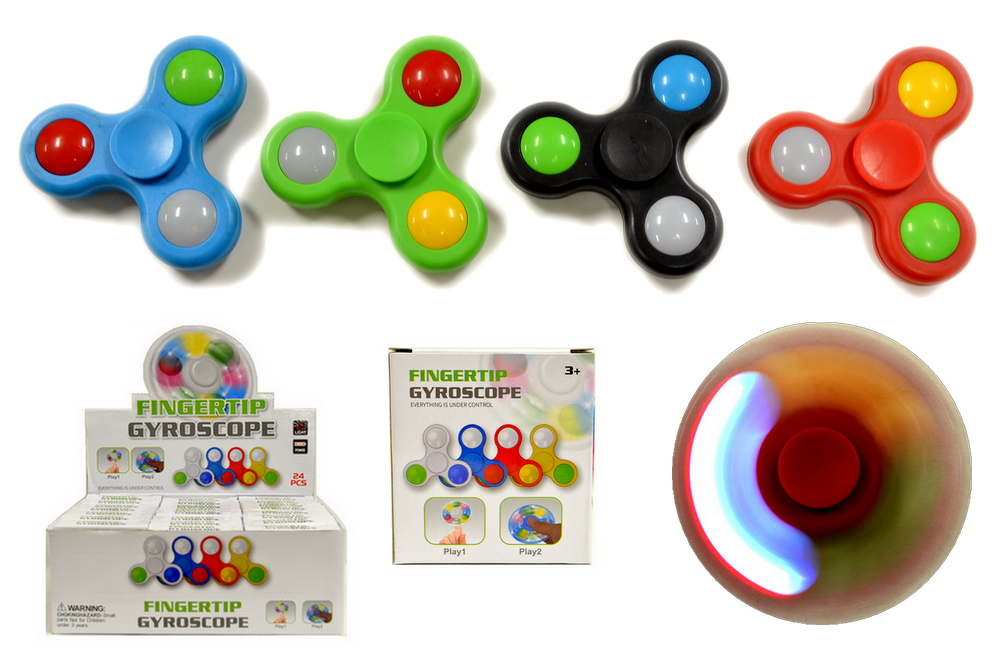 LIGHT UP HAND SPINNER - 24 PC DISPLAY BOX
