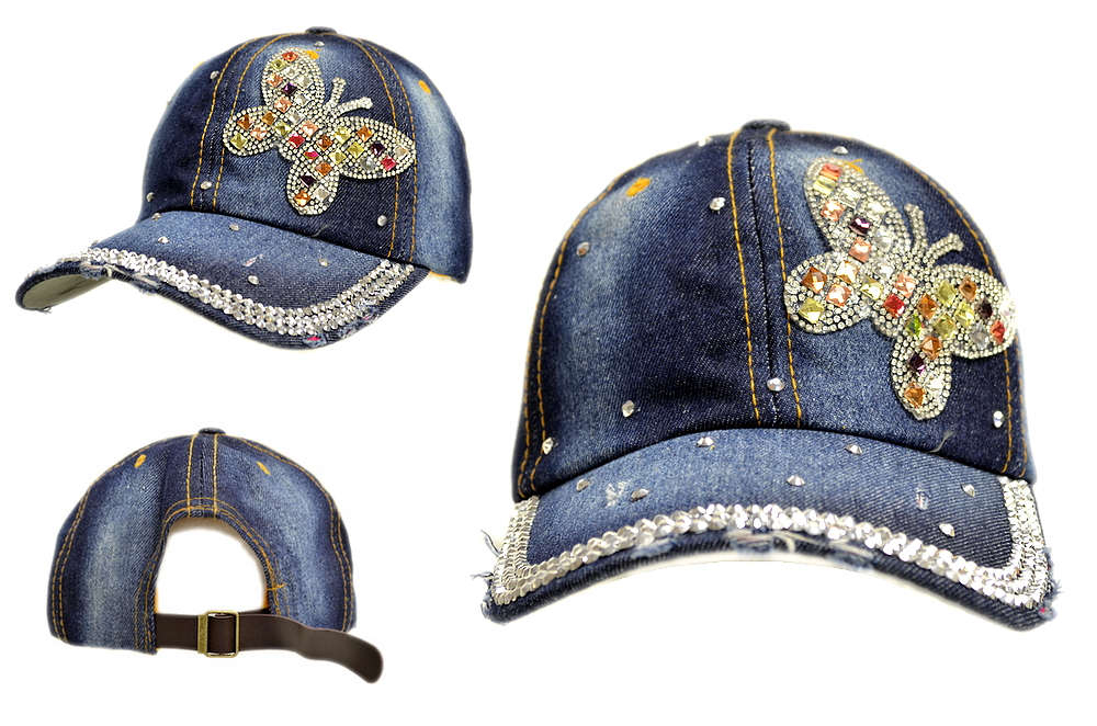 BLING BLING BUTTERFLY JEWEL RHINESTONE DENIM BASEBALL CAP