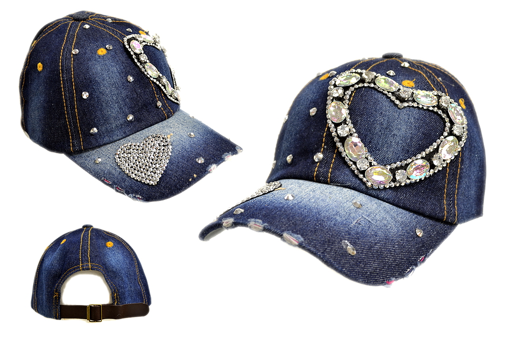 BLING BLING HEART JEWEL RHINESTONE DENIM BASEBALL CAP