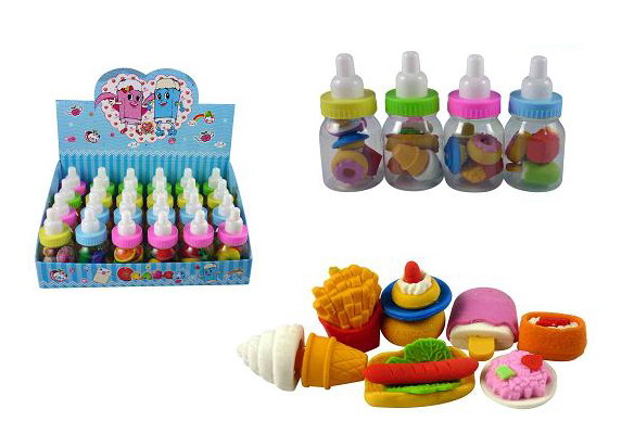 BABY BOTTLE W/4PC FAST FOOD ERASER