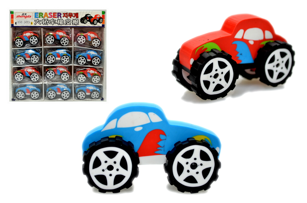 BIG WHEEL CAR ERASER, 2 DZ DISPLAY BOX