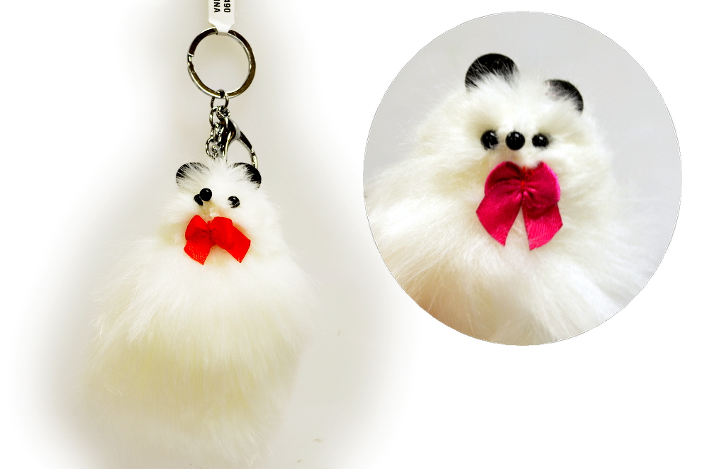 White Furry Puppet Key Chain