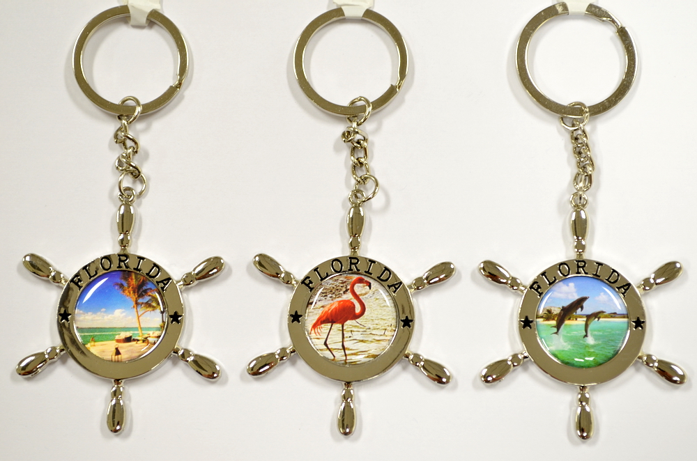 WHEEL SHAPE FLORIDA PICTURE KEY CHAIN
